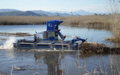 La máquina anfibia trabaja ya en la Marjal del Moro para favorecer la presencia de aves